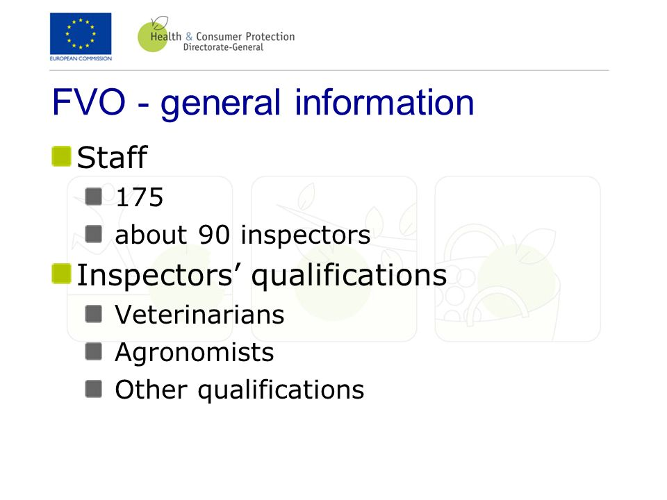 FVO - general information Staff 175 about 90 inspectors Inspectors qualifications Veterinarians Agronomists Other qualifications