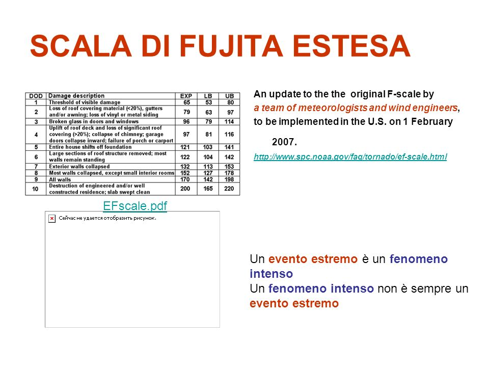 SCALA DI FUJITA ESTESA An update to the the original F-scale by a team of meteorologists and wind engineers, to be implemented in the U.S.