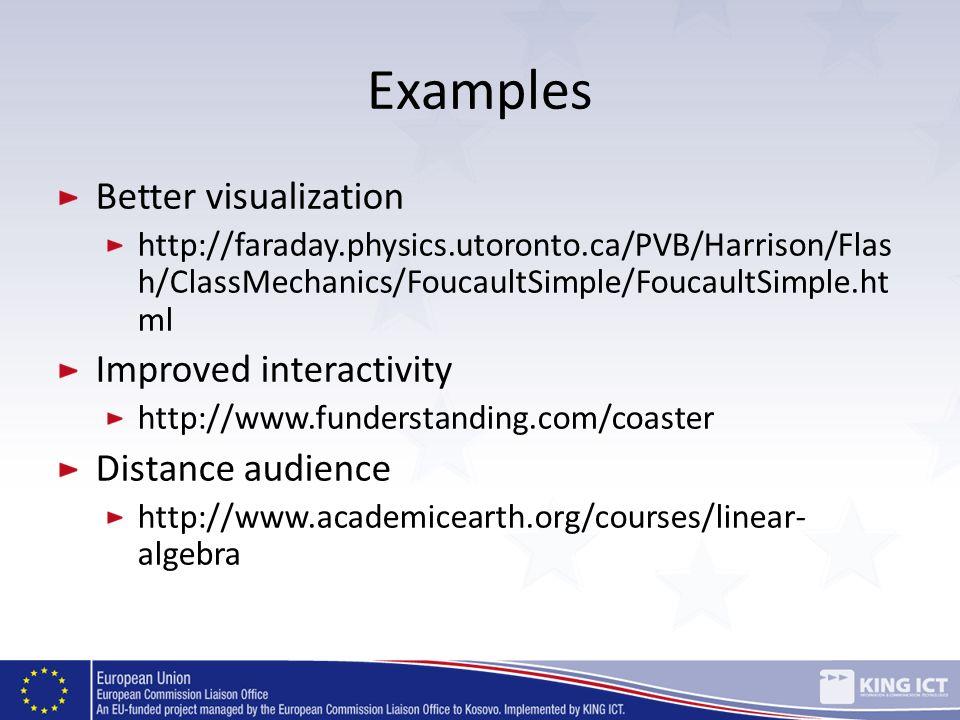 Examples Better visualization http://faraday.physics.utoronto.ca/PVB/Harrison/Flas h/ClassMechanics/FoucaultSimple/FoucaultSimple.ht ml Improved inter