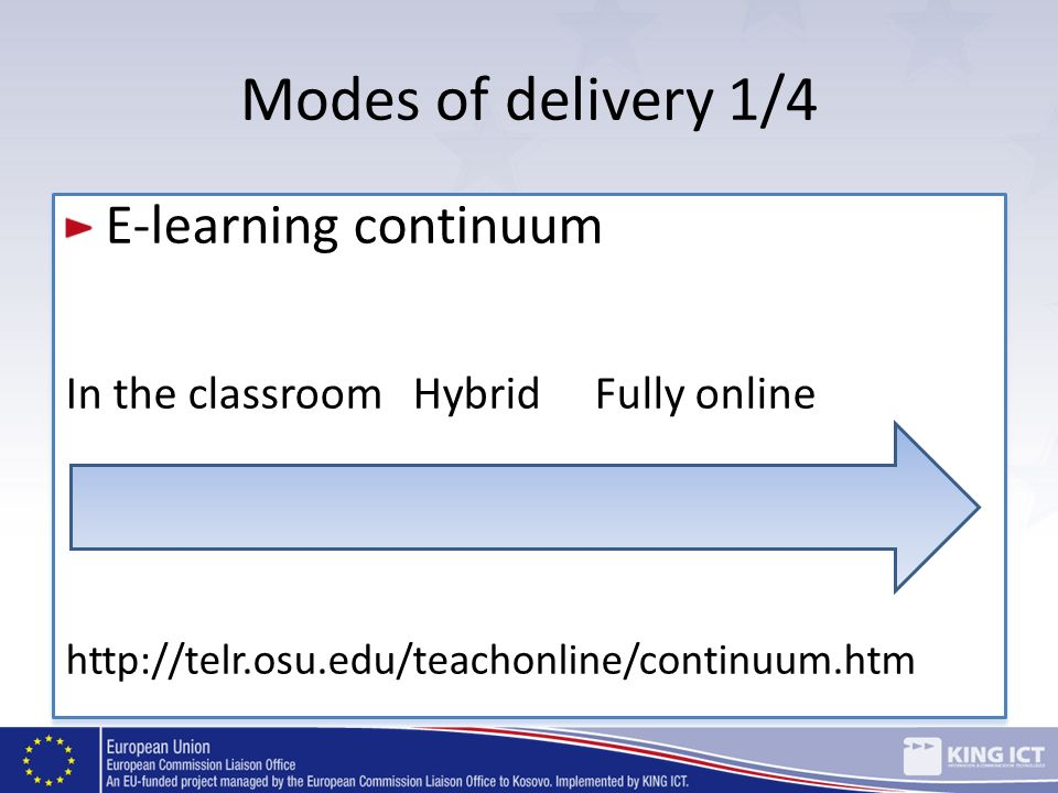 Modes of delivery 1/4 E-learning continuum In the classroom HybridFully online http://telr.osu.edu/teachonline/continuum.htm E-learning continuum In t