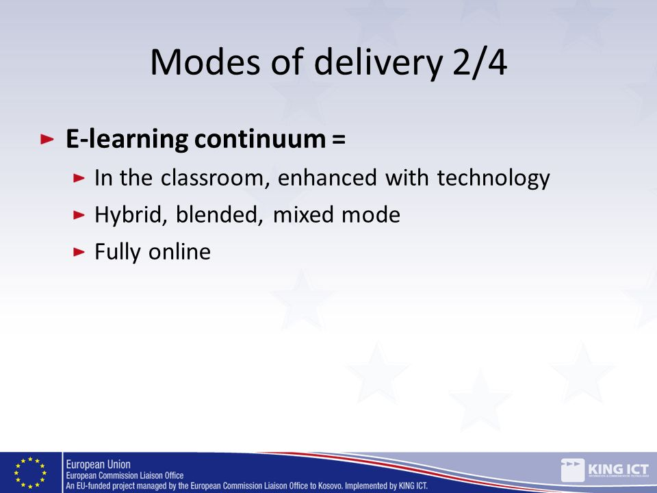 Modes of delivery 2/4 E-learning continuum = In the classroom, enhanced with technology Hybrid, blended, mixed mode Fully online