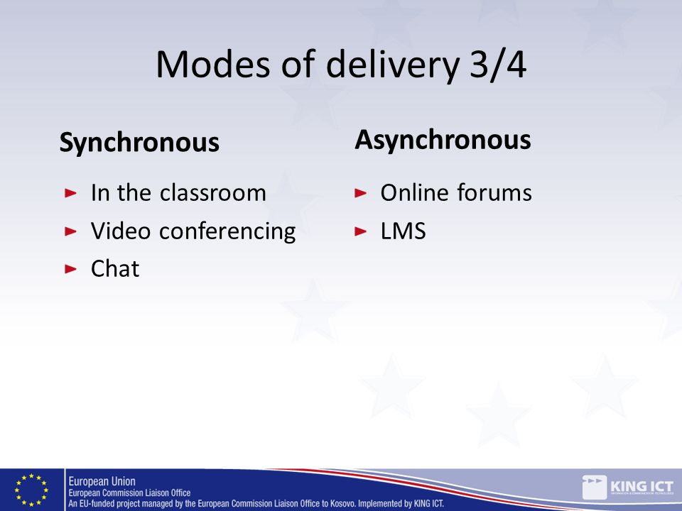 Modes of delivery 3/4 Synchronous In the classroom Video conferencing Chat Asynchronous Online forums LMS