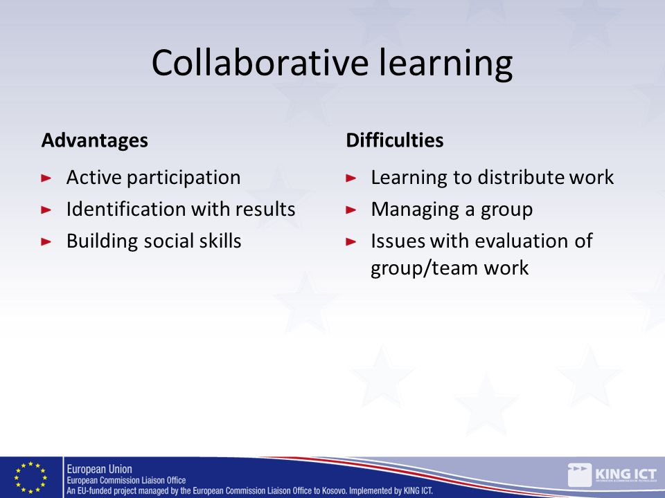 Collaborative learning Advantages Active participation Identification with results Building social skills Difficulties Learning to distribute work Man