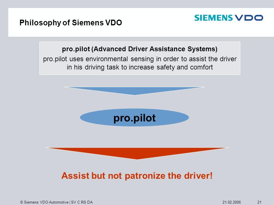 © Siemens VDO Automotive   SV C RS DA 2121.02.2006 Assist but not patronize the driver! pro.pilot (Advanced Driver Assistance Systems) pro.pilot uses