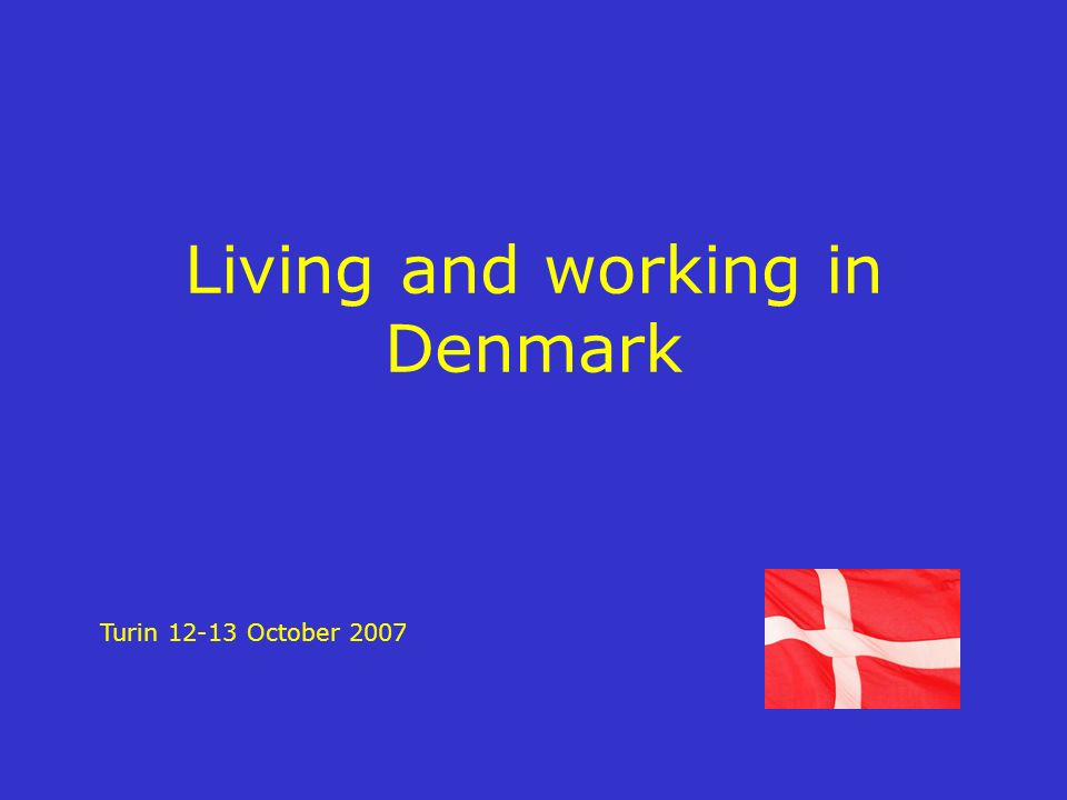 Living and working in Denmark Turin 12-13 October 2007