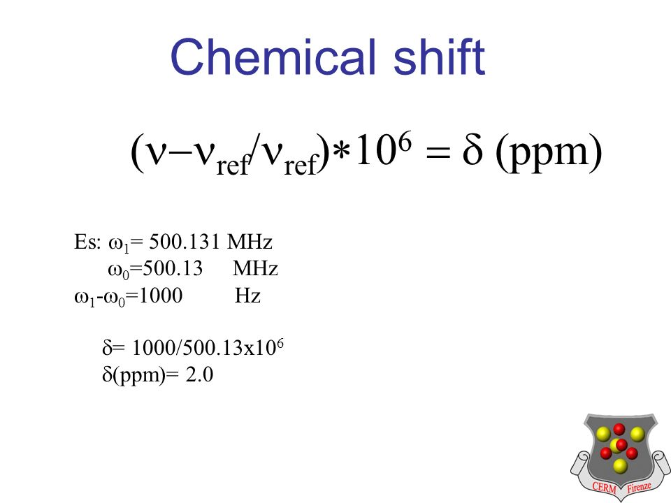 Chemical shift ref ref ppm Es: 1 = 500.131 MHz 0 =500.13 MHz 1 - 0 =1000 Hz = 1000/500.13x10 6 (ppm)= 2.0