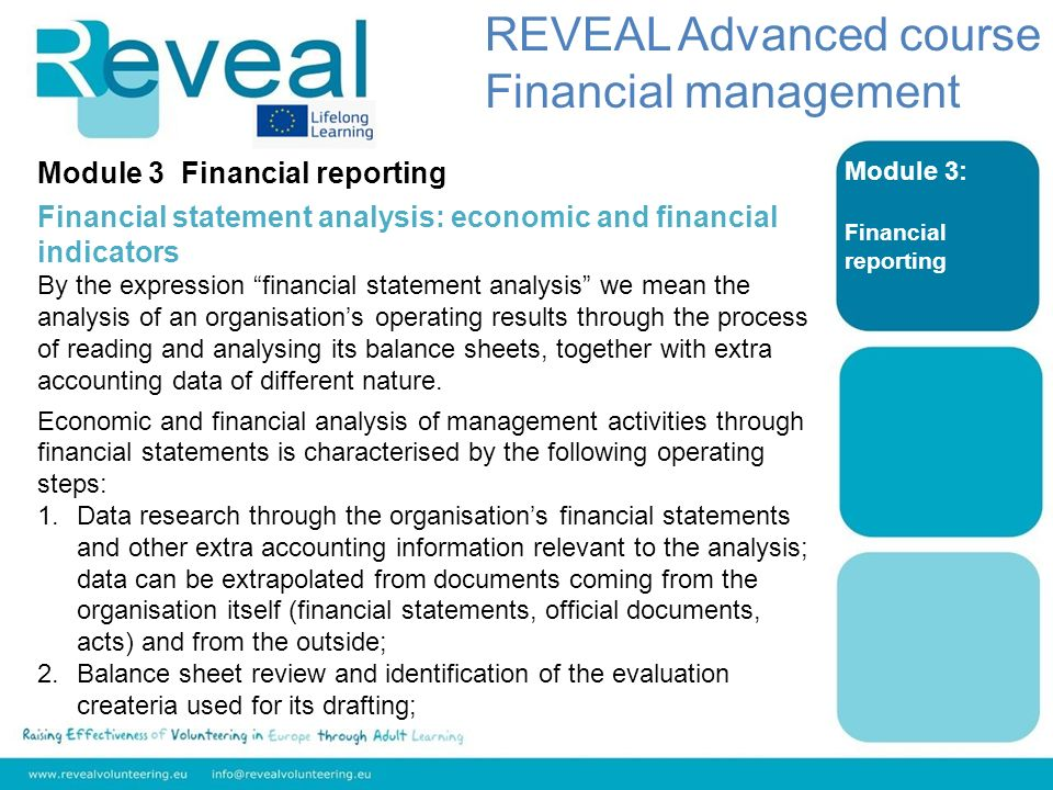 Module 3: Financial reporting Module 3 Financial reporting Financial statement analysis: economic and financial indicators By the expression financial
