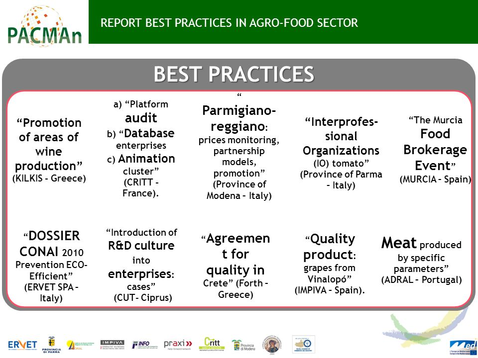 REPORT BEST PRACTICES IN AGRO-FOOD SECTOR BEST PRACTICES Introduction of R&D culture into enterprises : cases (CUT- Ciprus) Agreemen t for quality in