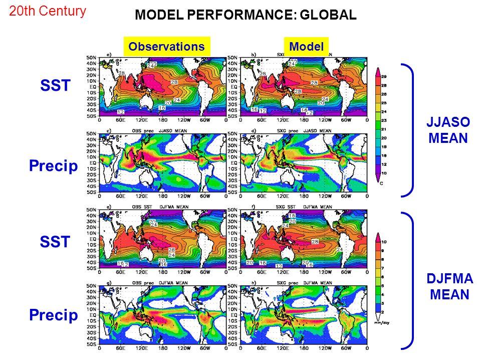 Observations SST Precip JJASO MEAN DJFMA MEAN MODEL PERFORMANCE: GLOBAL Model 20th Century