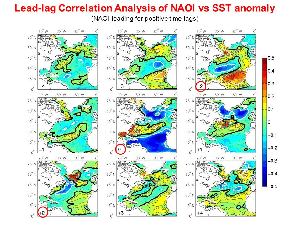 Lead-lag Correlation Analysis of NAOI vs SST anomaly (NAOI leading for positive time lags)