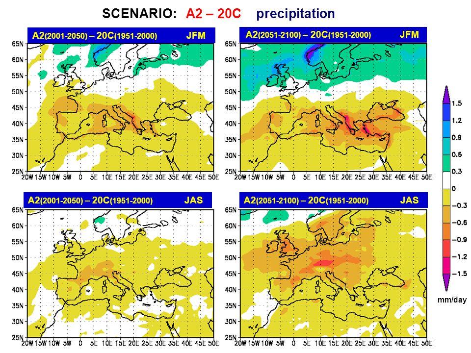 A2 (2001-2050) – 20C (1951-2000) JFM A2 (2001-2050) – 20C (1951-2000) JAS A2 (2051-2100) – 20C (1951-2000) JFM A2 (2051-2100) – 20C (1951-2000) JAS SC