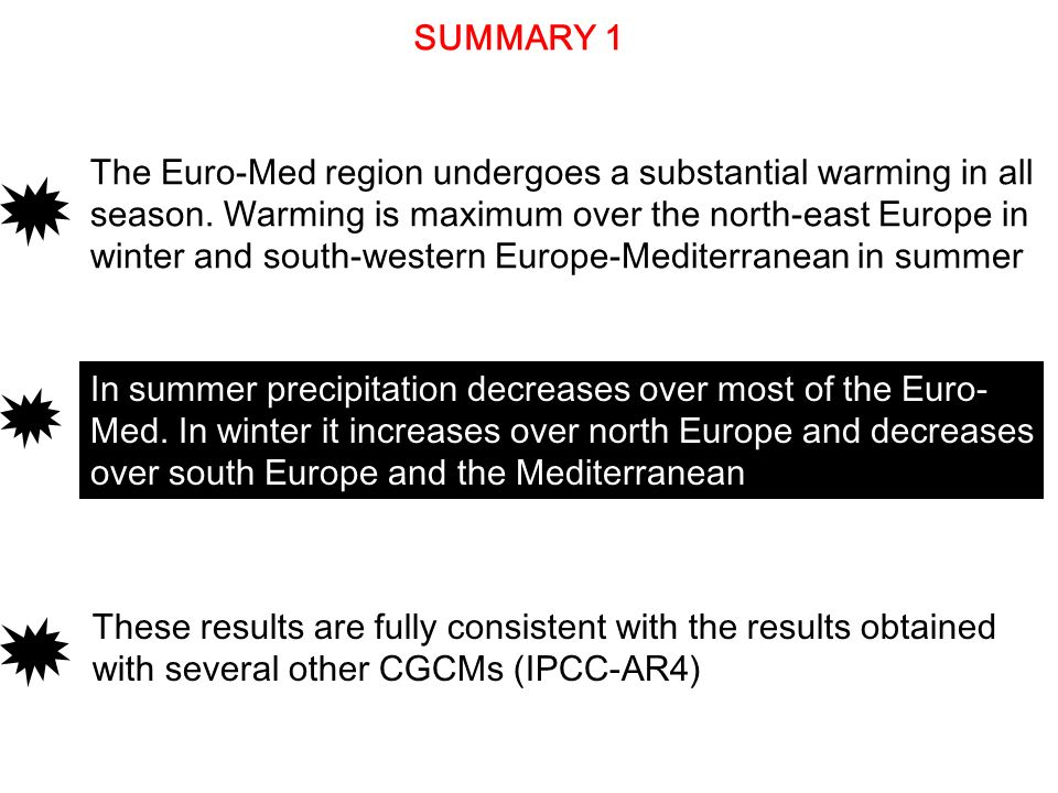 SUMMARY 1 These results are fully consistent with the results obtained with several other CGCMs (IPCC-AR4) In summer precipitation decreases over most