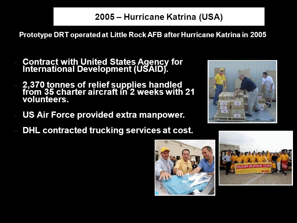 Managing Disaster Response | Beijing | April-24-2008Page12 2005 – Hurricane Katrina (USA) Prototype DRT operated at Little Rock AFB after Hurricane Ka