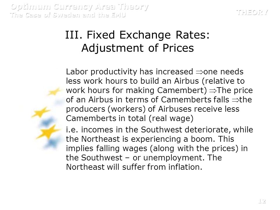 12 III. Fixed Exchange Rates: Adjustment of Prices Labor productivity has increased one needs less work hours to build an Airbus (relative to work hou