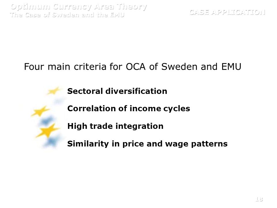 18 Four main criteria for OCA of Sweden and EMU Sectoral diversification Correlation of income cycles High trade integration Similarity in price and w
