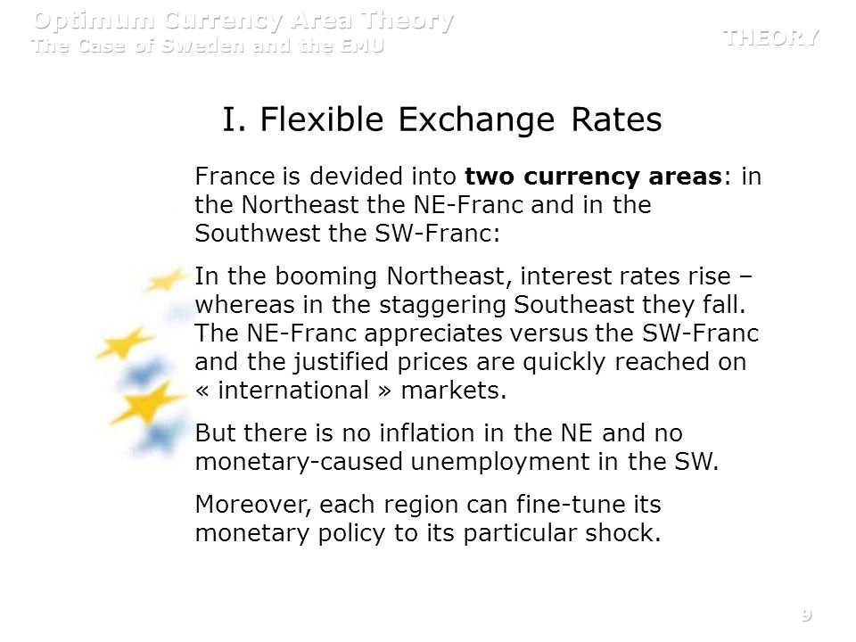 9 France is devided into two currency areas: in the Northeast the NE-Franc and in the Southwest the SW-Franc: In the booming Northeast, interest rates