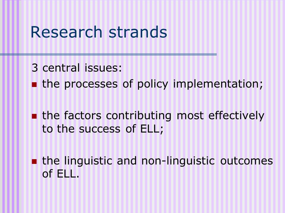 Strands of evidence Key factors contributing to the success of ELL: Learning environment Learners attitude and motivation Role of the teacher Language development Role of digital technology