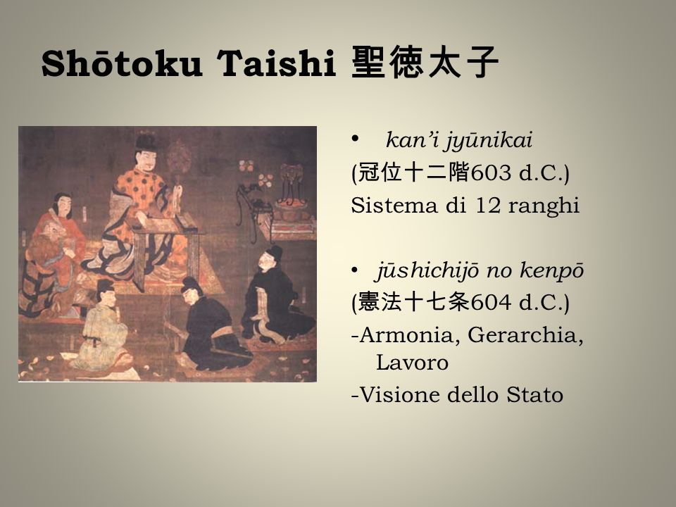 kani jyūnikai ( 603 d.C.) Sistema di 12 ranghi jūshichijō no kenpō ( 604 d.C.) -Armonia, Gerarchia, Lavoro -Visione dello Stato
