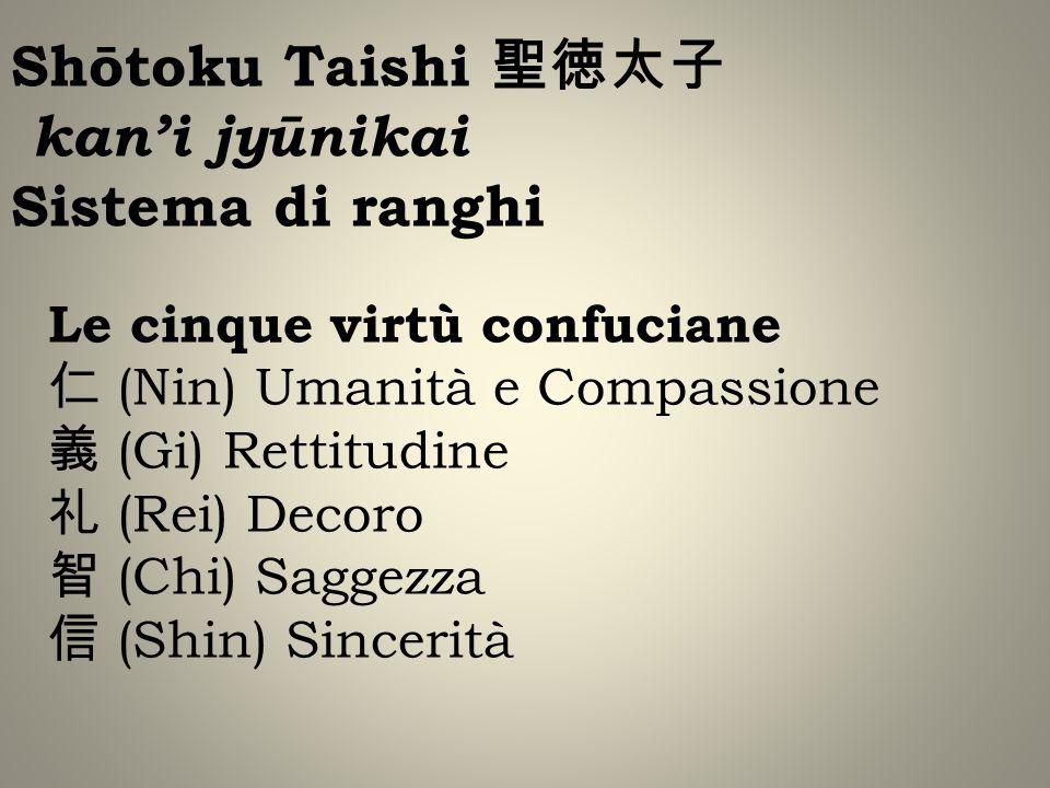 Shōtoku Taishi kani jyūnikai Sistema di ranghi Le cinque virtù confuciane (Nin) Umanità e Compassione (Gi) Rettitudine (Rei) Decoro (Chi) Saggezza (Shin) Sincerità