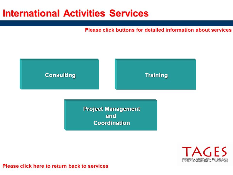 Training International Activities Services Consulting Project Management Project Management and Coordination Please click buttons for detailed informa