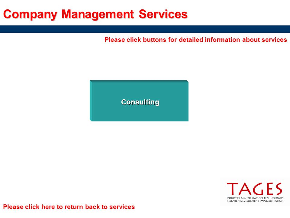 Company Management Services Consulting Please click buttons for detailed information about services Please click here to return back to services Pleas