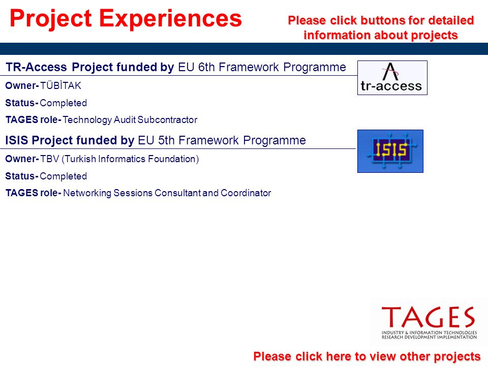 Project Experiences Please click buttons for detailed information about projects TR-Access Project funded by EU 6th Framework Programme Owner- TÜBİTAK