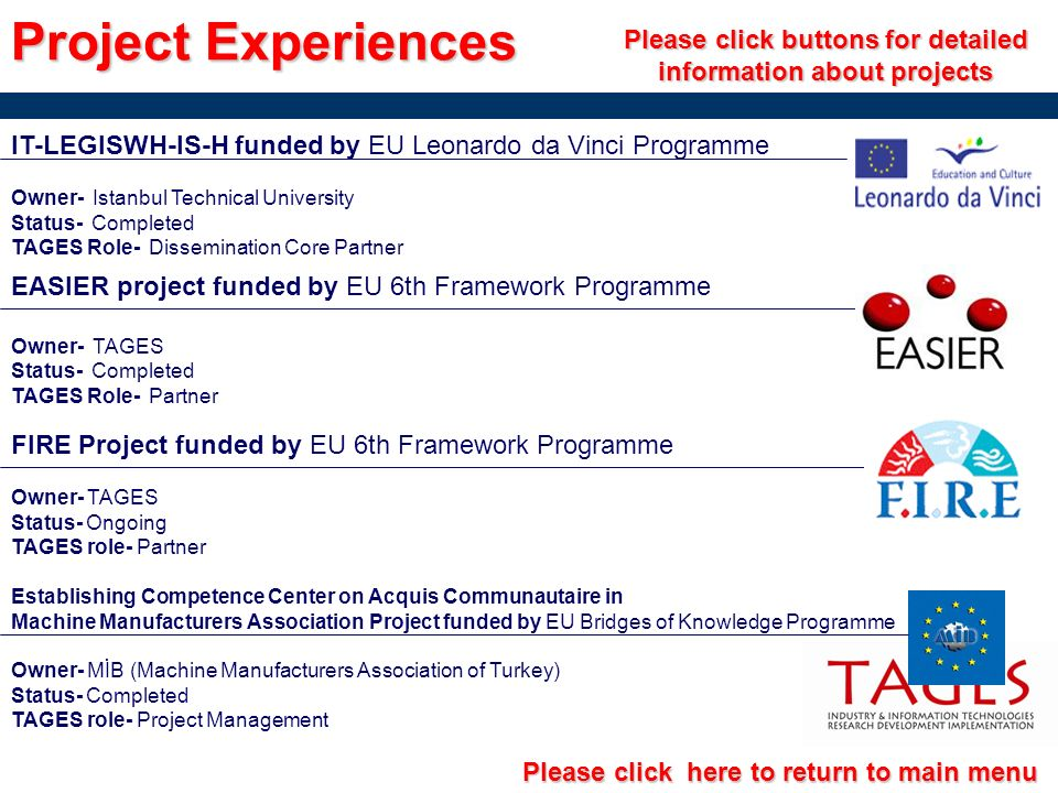 Project Experiences Please click buttons for detailed information about projects IT-LEGISWH-IS-H funded by EU Leonardo da Vinci Programme Owner- Istan