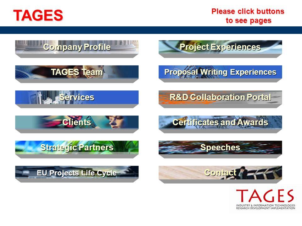 Company Profile Company Profile Project Experiences Project Experiences TAGES Team TAGES Team Strategic Partners Strategic Partners Clients EU Project