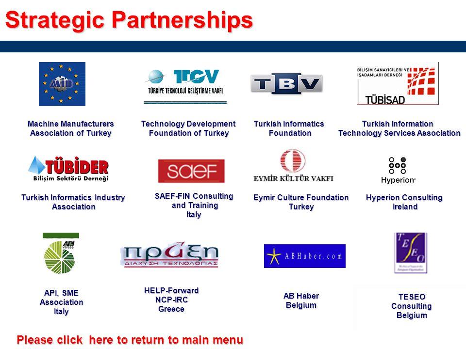 Strategic Partnerships Yeditepe University R&D Activities Group GroupTurkey IRC EGE Innovation Relay Center, Turkey TechnobeeTurkey TUBITAK Scientific & Technological Research Council Research Council of Turkey of Turkey