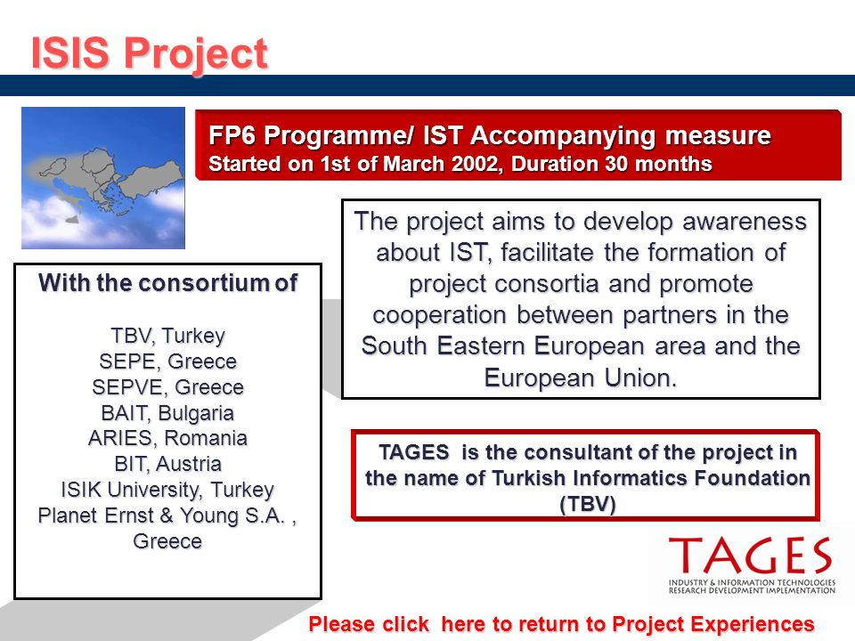 FP6 Programme/ IST Accompanying measure Started on 1st of March 2002, Duration 30 months The project aims to develop awareness about IST, facilitate t