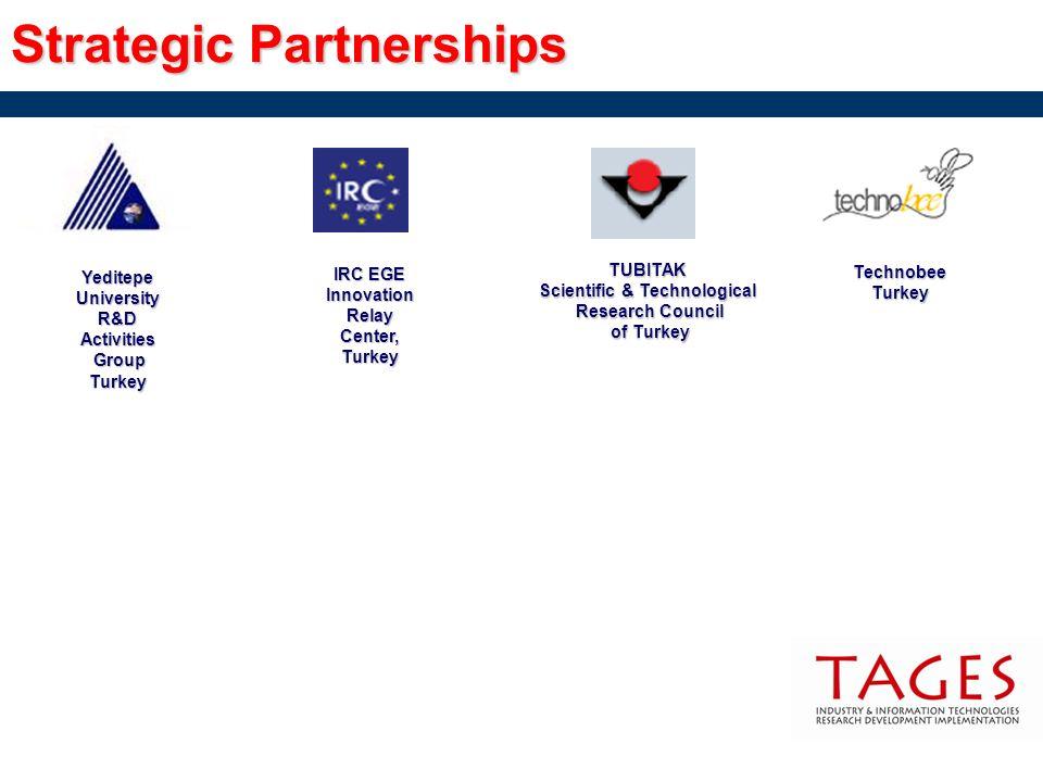 Strategic Partnerships Yeditepe University R&D Activities Group GroupTurkey IRC EGE Innovation Relay Center, Turkey TechnobeeTurkey TUBITAK Scientific