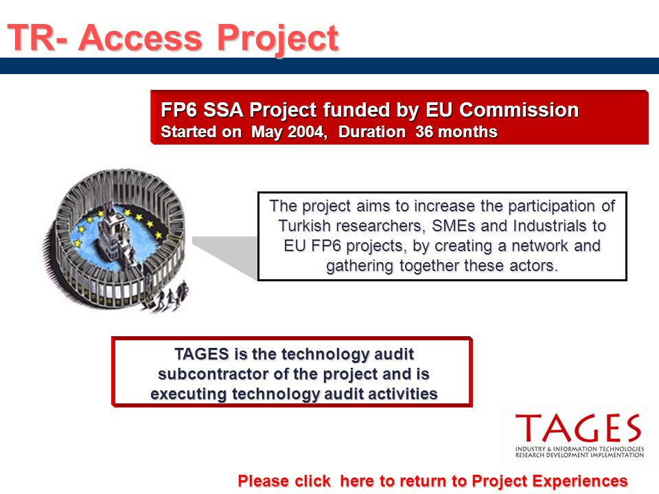 TR- Access Project FP6 SSA Project funded by EU Commission Started on May 2004, Duration 36 months TAGES is the technology audit subcontractor of the