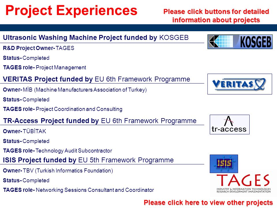 Project Experiences Please click buttons for detailed information about projects Ultrasonic Washing Machine Project funded by KOSGEB R&D Project Owner