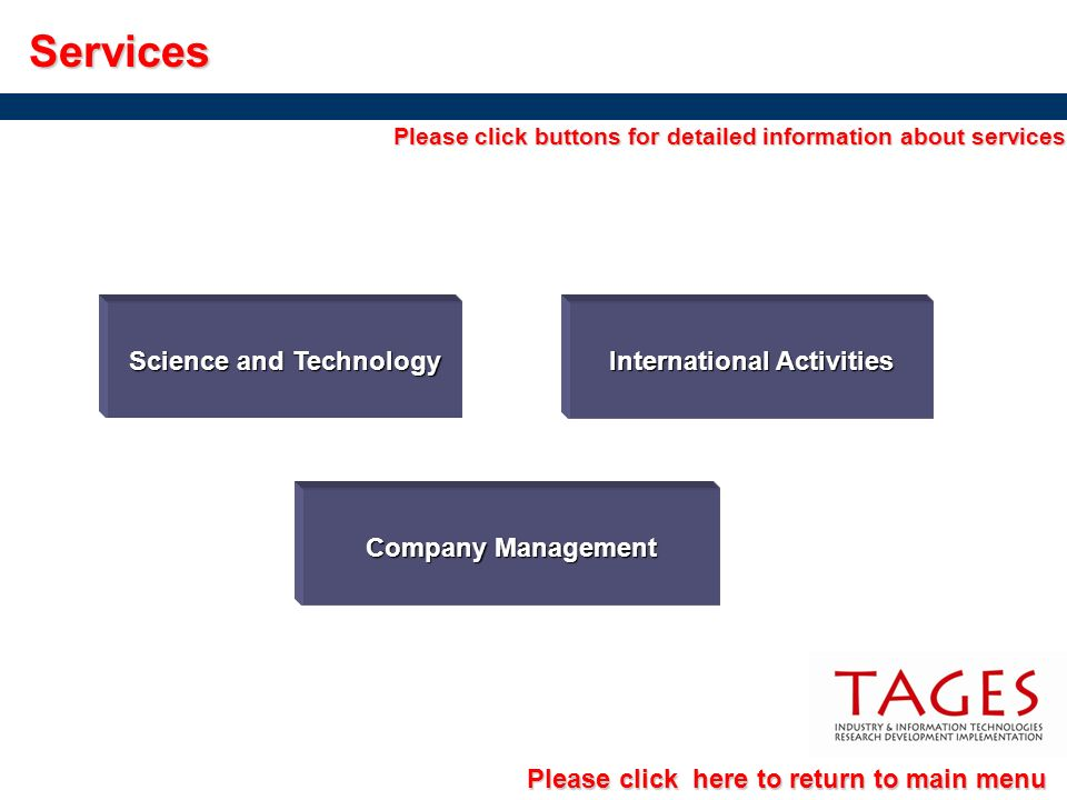 International Activities International ActivitiesServices Science and Technology Science and Technology Company Management Company Management Please c