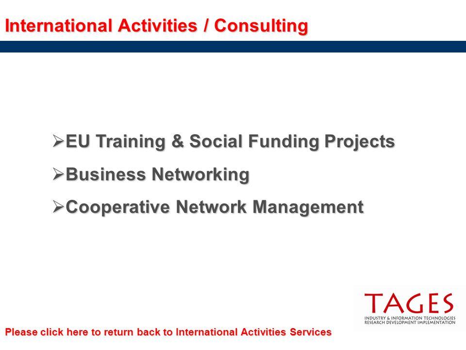 International Activities / Consulting EU Training & Social Funding Projects EU Training & Social Funding Projects Business Networking Business Network