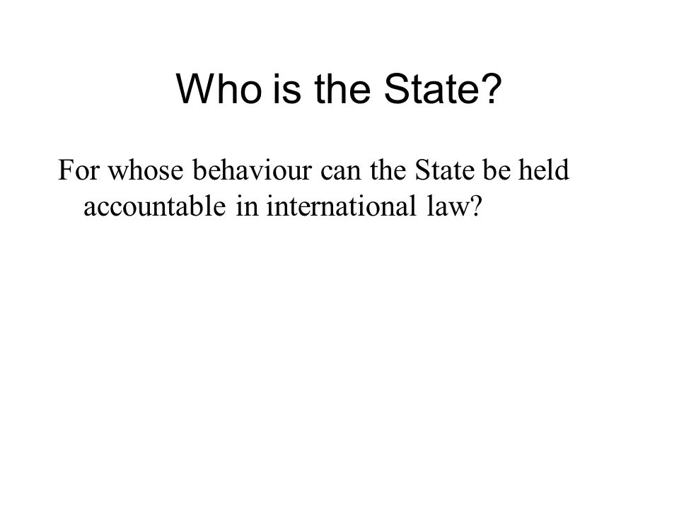 Who is the State? For whose behaviour can the State be held accountable in international law?