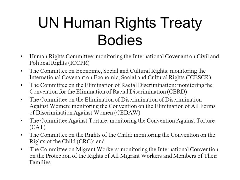 UN Human Rights Treaty Bodies Human Rights Committee: monitoring the International Covenant on Civil and Political Rights (ICCPR) The Committee on Eco