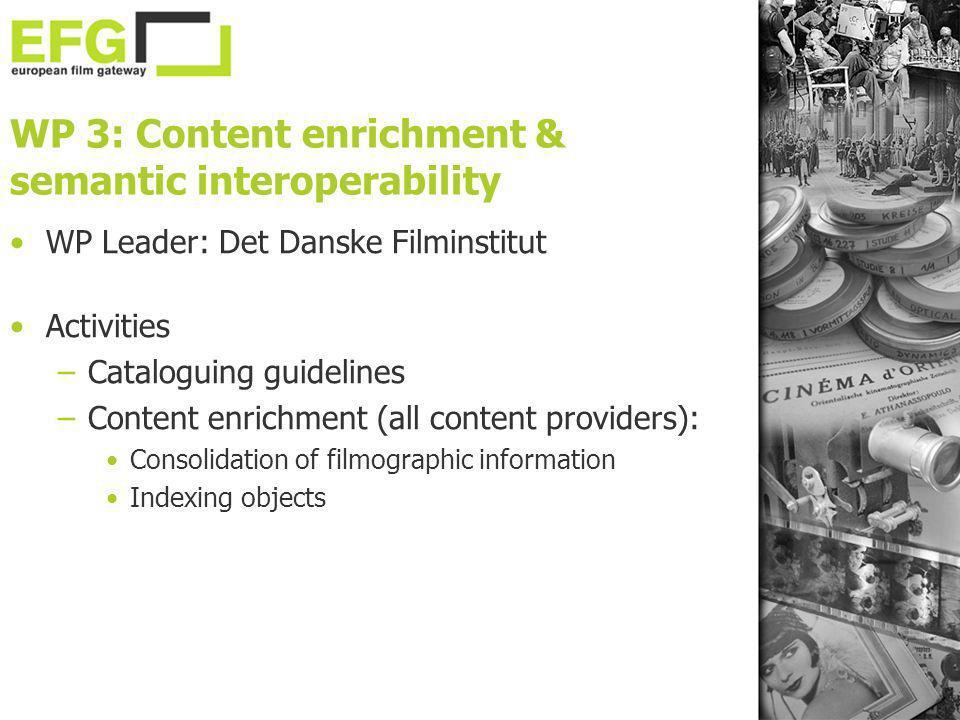 WP 3: Content enrichment & semantic interoperability WP Leader: Det Danske Filminstitut Activities –Cataloguing guidelines –Content enrichment (all co