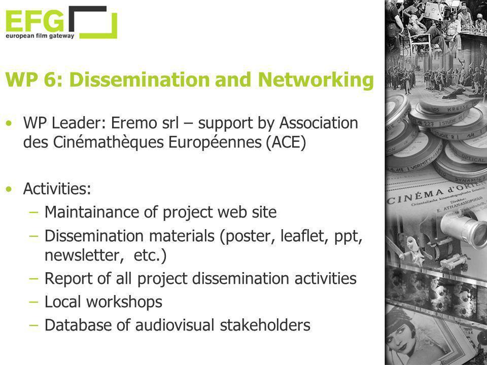 WP 6: Dissemination and Networking WP Leader: Eremo srl – support by Association des Cinémathèques Européennes (ACE) Activities: –Maintainance of proj