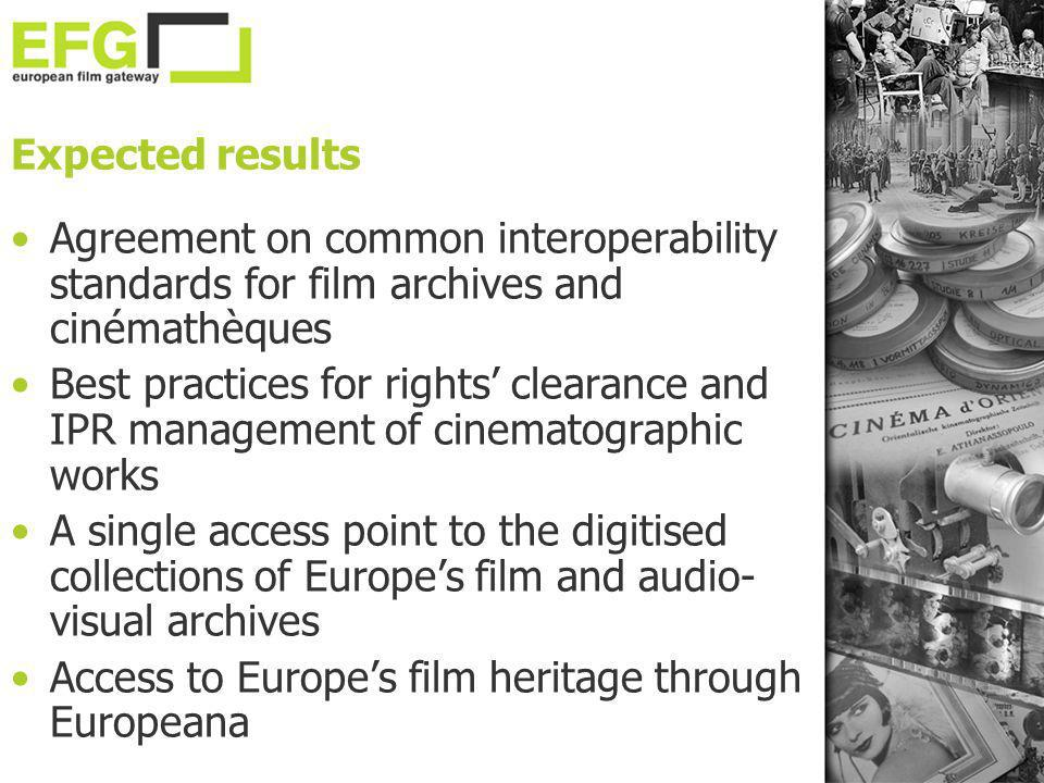 Expected results Agreement on common interoperability standards for film archives and cinémathèques Best practices for rights clearance and IPR manage