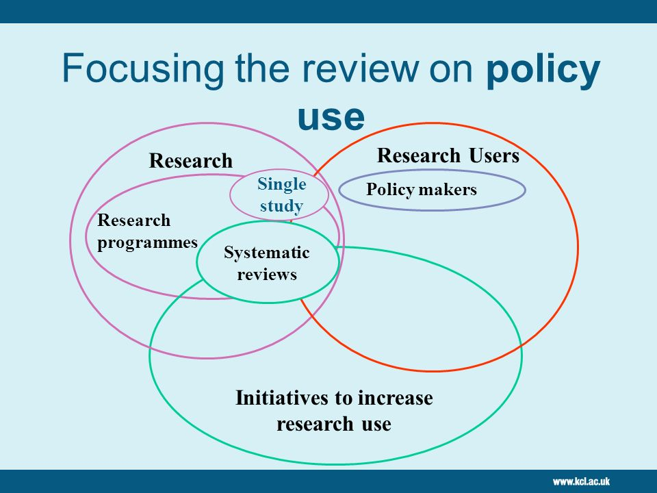 8 Review question: How do you (best) evaluate the impact of research on policy? Explored the websites of 30 organizations Hand search of selected jour