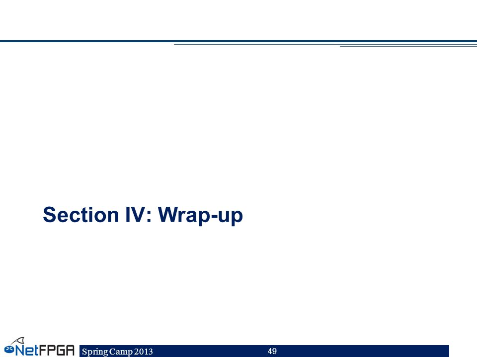 Spring Camp 2013 49 Section IV: Wrap-up