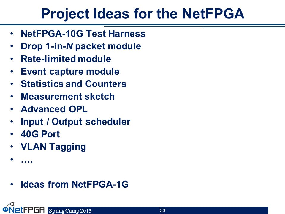 Spring Camp 2013 53 Project Ideas for the NetFPGA NetFPGA-10G Test Harness Drop 1-in-N packet module Rate-limited module Event capture module Statisti