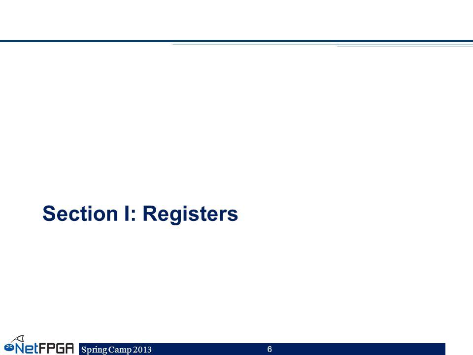 Spring Camp 2013 6 Section I: Registers