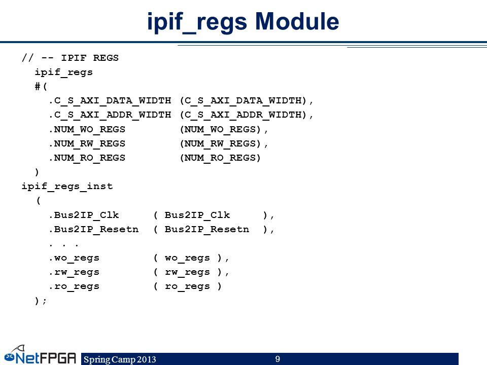 Spring Camp 2013 9 ipif_regs Module // -- IPIF REGS ipif_regs #(.C_S_AXI_DATA_WIDTH (C_S_AXI_DATA_WIDTH),.C_S_AXI_ADDR_WIDTH (C_S_AXI_ADDR_WIDTH),.NUM