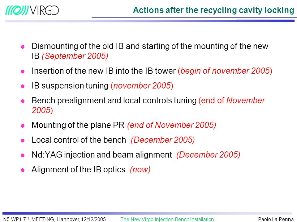Paolo La Penna The New Virgo Injection Bench installationN5-WP1 7 TH MEETING, Hannover, 12/12/2005 Actions after the recycling cavity locking l Dismou