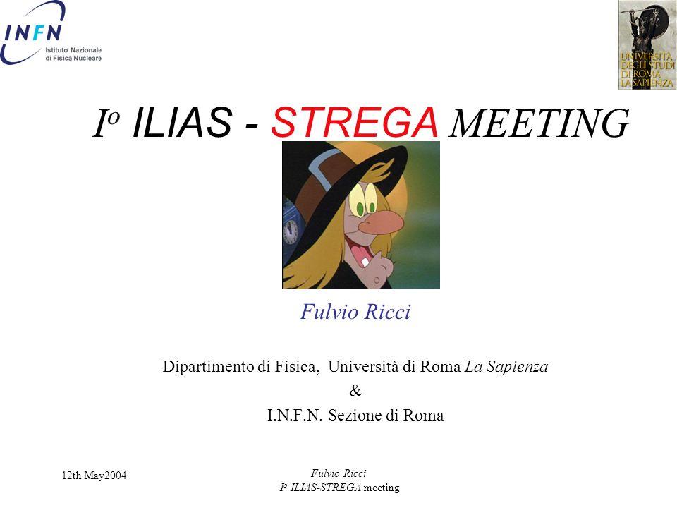 12th May2004 Fulvio Ricci I o ILIAS-STREGA meeting I o ILIAS - STREGA MEETING Fulvio Ricci Dipartimento di Fisica, Università di Roma La Sapienza & I.N.F.N.