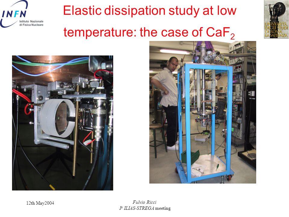 12th May2004 Fulvio Ricci I o ILIAS-STREGA meeting Elastic dissipation study at low temperature: the case of CaF 2