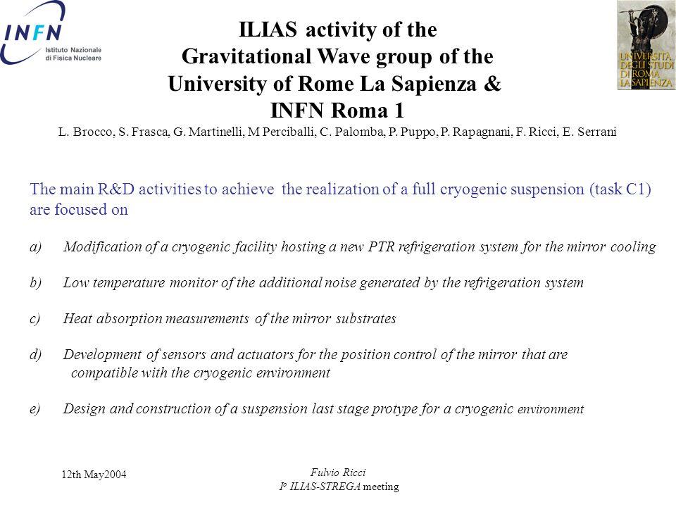 12th May2004 Fulvio Ricci I o ILIAS-STREGA meeting ILIAS activity of the Gravitational Wave group of the University of Rome La Sapienza & INFN Roma 1 L.