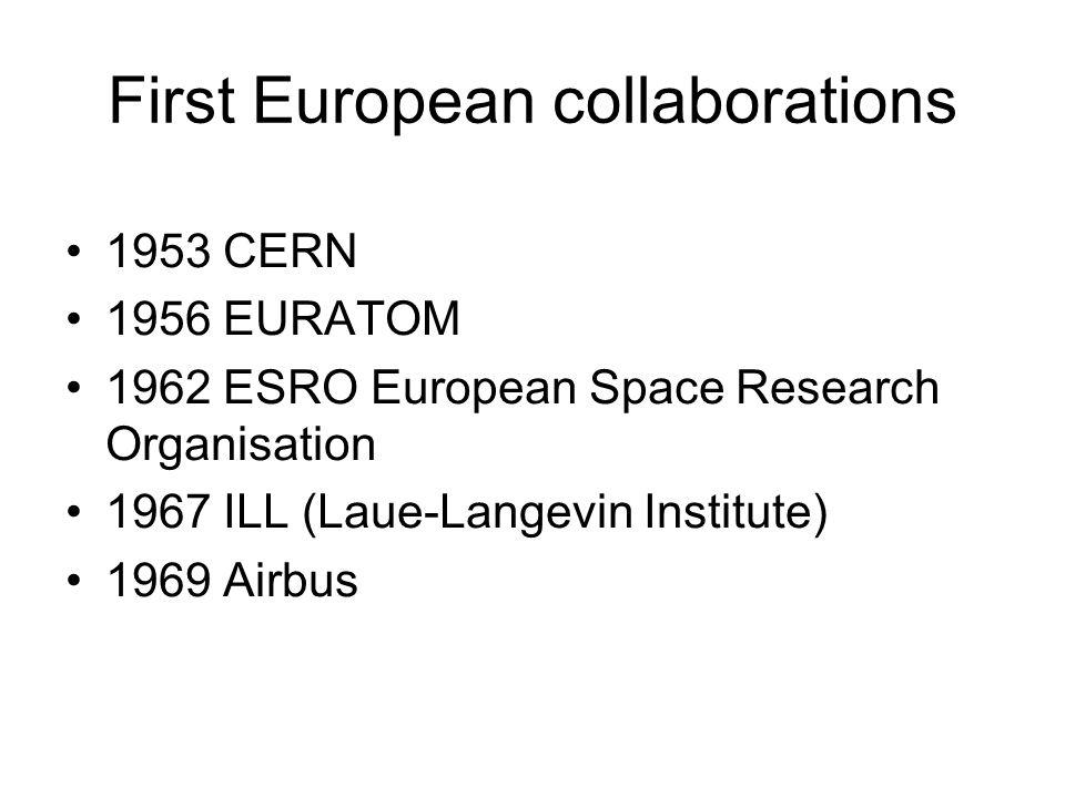 First European collaborations 1953 CERN 1956 EURATOM 1962 ESRO European Space Research Organisation 1967 ILL (Laue-Langevin Institute) 1969 Airbus